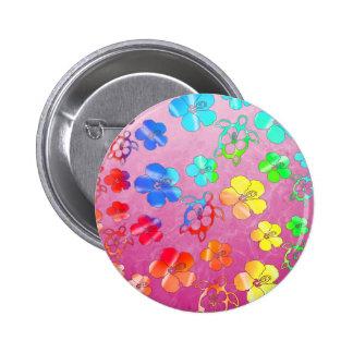 Tie Dye Honu And Hibiscus 6 Cm Round Badge