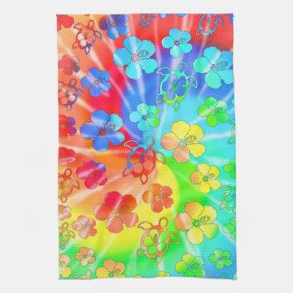 Tie Dye Honu And Hibiscus Kitchen Towel