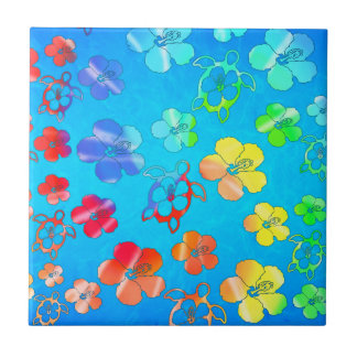 Tie Dye Honu And Hibiscus Small Square Tile