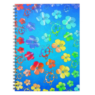 Tie Dye Honu And Hibiscus Spiral Notebook