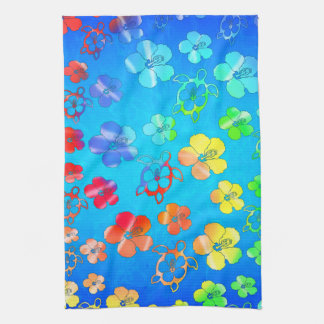 Tie Dye Honu And Hibiscus Tea Towel