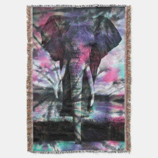 Tie-Dye Majesty Elephant Tapestry Throw Blanket