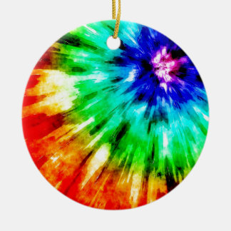 Tie Dye Meets Watercolor Round Ceramic Decoration