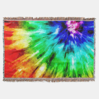 Tie Dye Meets Watercolor Throw Blanket