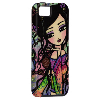 Tie Dye Owl Branches Asian Mermaid Art iPhone Case