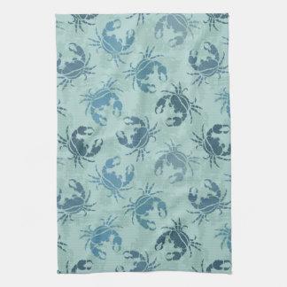 Tie Dye Pattern Of Crabs Tea Towel