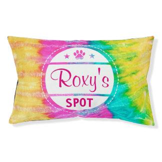 Tie Dye Paw Print Dog Name Spot Pet Bed
