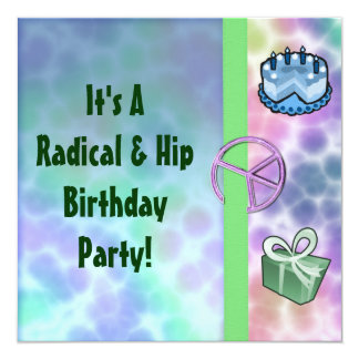 Tie Dye Peace Birthday 13 Cm X 13 Cm Square Invitation Card