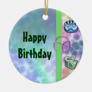 Tie Dye Peace Birthday Round Ceramic Decoration