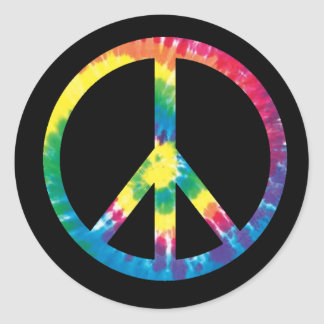 Tie dye peace sign 2 classic round sticker