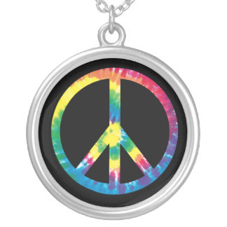 Tie Dye Peace Sign 2 Silver Plated Necklace