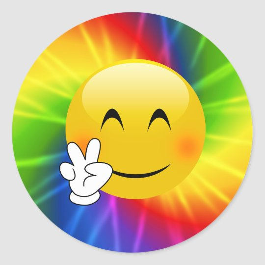 Tie Dye Peace Sign Emoji Classic Round Sticker Zazzle