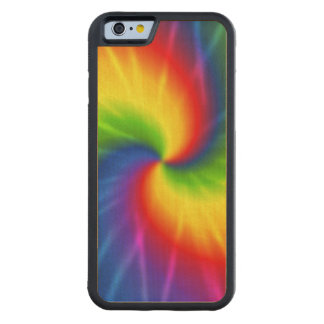 Tie Dye Rainbow Pattern Carved Maple iPhone 6 Bumper Case