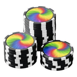 Tie Dye Rainbow Pattern Poker Chips