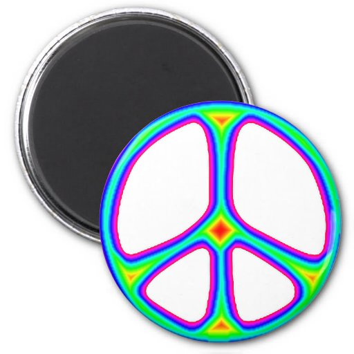 Tie Dye Rainbow Peace Sign 60's Hippie Love Magnets