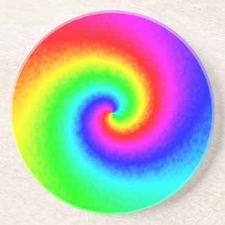 Tie-Dye Rainbow Swirl Sandstone Drink Coaster