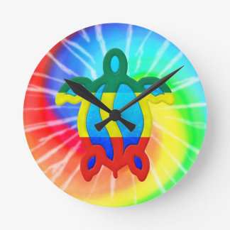 Tie Dye Rasta Honu Turtle Round Clock