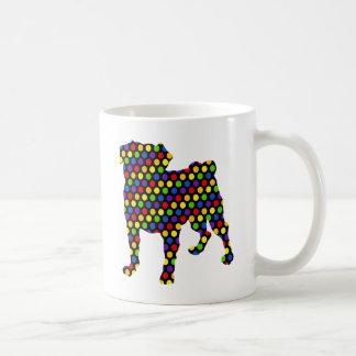 Tie Dye Retro Rainbow Mod Pug Art - Add Text Basic White Mug