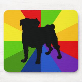 Tie Dye Retro Rainbow Mod Pug Art - Add Text Mouse Pad