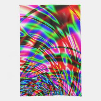 Tie Dye Retro Wave Fractal Tea Towel