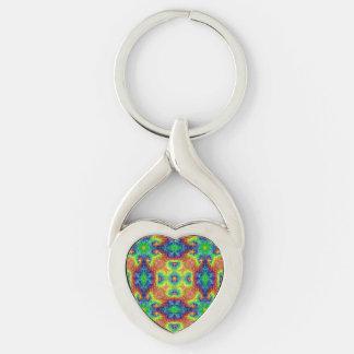 Tie Dye Sky Kaleidoscope  Metal Keychains, 4 shap Silver-Colored Twisted Heart Key Ring