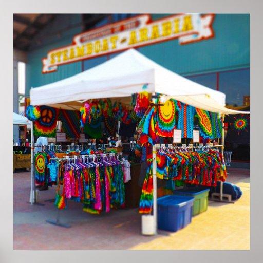 Tie Dye Tent City Market Steamboat Arabia KC Poster