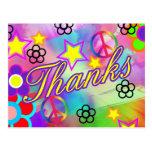 Tie-dye thank you card postcard