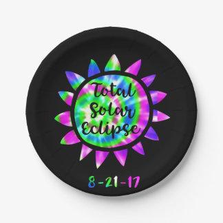 Tie Dye Total Solar Eclipse Paper Party Plate