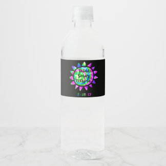 Tie Dye Total Solar Eclipse Water Bottle Label