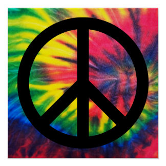 Tie Dyed Black Peace Sign