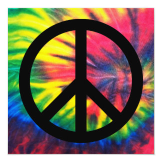 Tie Dyed Black Peace Sign 13 Cm X 13 Cm Square Invitation Card