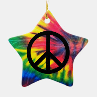 Tie Dyed Black Peace Sign Christmas Ornament