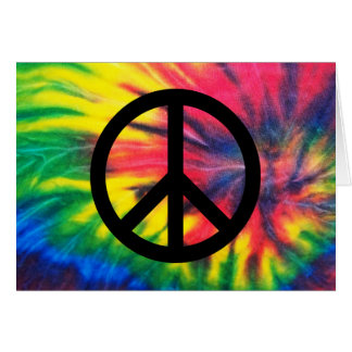 Tie Dyed Black Peace Sign Greeting Card