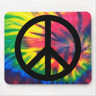 Tie Dyed Black Peace Sign Mouse Mat