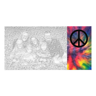 Tie Dyed Black Peace Sign Photo Cards