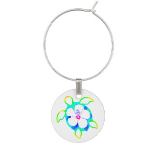 Tie Dyed Honu Turtle Wine Glass Charms