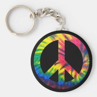 Tie Dyed Peace Basic Round Button Key Ring