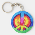 Tie~Dyed Peace Basic Round Button Key Ring