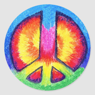 Tie Dyed Peace Round Stickers
