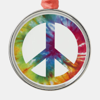 Tie Dyed Peace Sign Christmas Ornament