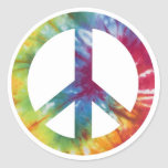 Tie Dyed Peace Sign Round Stickers