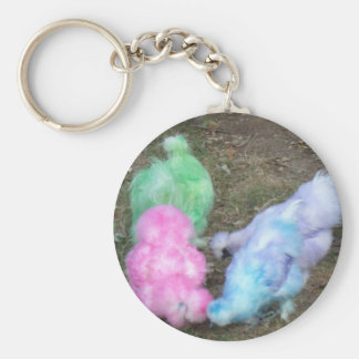Tie Dyed Silkie Chickens in Pastel Easter Colors Keychains