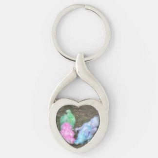 Tie Dyed Silkie Chickens in Pastel Easter Colors Silver-Colored Twisted Heart Key Ring