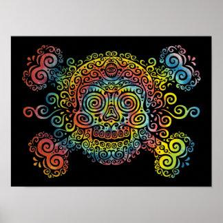 Tie-Dyed Sugar Skull Poster