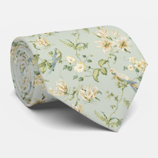 TIE ONE ON Vintage Pastel White Flowers Blue Birds