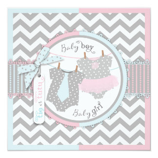Tie or Tutu & Chevron Print Gender Reveal Party 13 Cm X 13 Cm Square Invitation Card