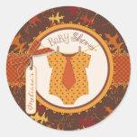 Tie Polka Dot Jumper and Autumn Leaves Print Round Sticker