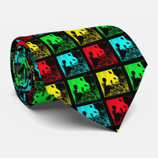 Tie, Pop Art Giant Panda Red Blue Yellow Green Tie