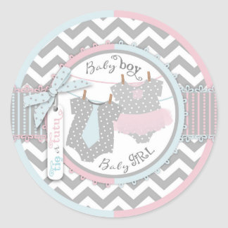 Tie Tutu Chevron Gender Reveal Round Sticker