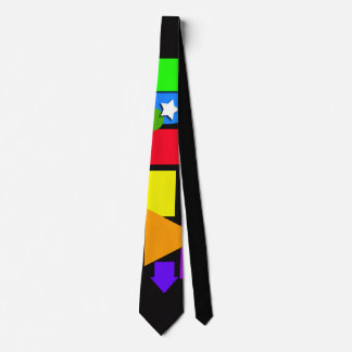 Tie with geometric shapes.